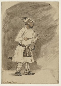 1656-58+Indian+Archer+pen+and+brush+in+brown+ink,+brush+and+grey-brown,+light+brown+on+Japanese+paper+18.8+x+13.1+cm