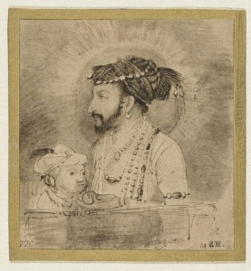 1656-58+Shah+Jahan+and+his+Son+pen+and+brush+in+brown+on+light+brown+Japanese+paper+9.4+x+8.6+cm