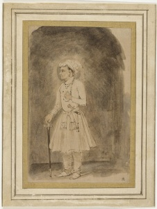 1656-58+The+Great+Mogul+Jahangir+pen+in+brown,+brush+in+brown,+pink+and+light+grey+on+Japanese+paper+18.3+x+12+cm